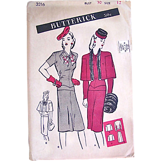 1940s Misses Overblouse, Dress and Cape Pattern, Butterick 3216, Complete Factory Folded, Size 12, Bust 30