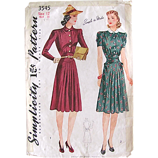 Simplicity 3545, Misses Mother Daughter Dress Pattern, Vintage 1940, Complete and Factory Folded, Size 12, Bust 30