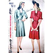 Simplicity 4802, Misses Dress Pattern, Vintage 1940s, Factory Folded, Size 14, Gathered Skirt, Oval Neckline