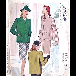Misses Jacket, Uncut Sewing Pattern, McCall 5534, Vintage 1943, Size 12 Bust 30