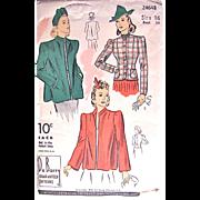 Jacket Pattern, Du Barry 2464B, Misses Size 16, Bust 34, Factory Folded, Dated 1940