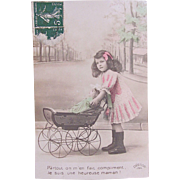 Tinted French Real Photo Postcard, Little Girl, Big Doll and Pram, Dated 1912