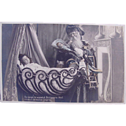 Tinted French Real Photo Postcard, Father Christmas, Dolls, Sleeping Child, Circa 1910s