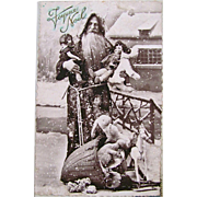 French Real Photo Postcard, Pere Noel, Felt Dolls, Stuffed Toys, Rocking Horse, Circa 1920s