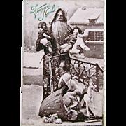 French Real Photo Postcard, Pere Noel, Felt Dolls, Stuffed Toys, Rocking Horse, Circa 1920s