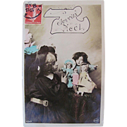 Joyeux Noel, French Tinted Real Photo Postcard, Girl and 4 Dolls, Postmarked 1908