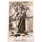 Tinted French Real Photo Postcard, Pere Noel on Ice Skates, Dolls, Toys, Musical Instruments, Joyeux Noel, Dated 1910