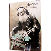 Tinted French Real Photo Postcard, Pere Noel with Basket of Dolls, Toys, Heureux Noël, Postmarked 1912