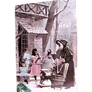 Noël, Hand Tinted French Real Photo Postcard, Pere Noel Delivering Dolls and Toys to 2 Little Girls and Boy, Postmarked 1912