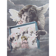 Tinted French Real Photo Postcard, Little Cherub, Doll, Sheep, Postmarked 1905