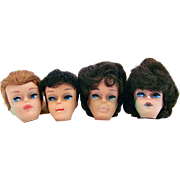 4 Barbie Doll Heads for Restoration, Swirl, Ponytail, Bubble Cut, Vintage 1961 to 1964