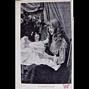 La Poupee de Lili 2, French Real Photo Postcard, Young Girl and Big Doll, Circa Early 1900s