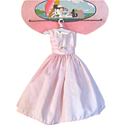 Pink Shadow Stripe Dress and Gathered Petticoat, fits 19-Inch High Heel Figure Doll, Vintage 1950s