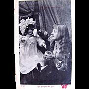 La Poupee de Lili 3, French Real Photo Postcard, Young Girl, Large Doll, Powder Puff, Circa Early 1900s