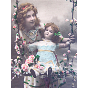Tinted French Real Photo Postcard, Happy Birthday, Young Girl and Large Doll on Swing, Vintage Early 1900s