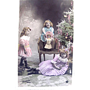 Hand Tinted French Real Photo Postcard, 3 Little Girls, Bisque Doll, Decorated Christmas Tree, Circa Early 1900s
