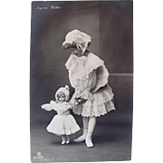French Postcard, Angelica Walter, Little Girl and Doll in Matching Outfits, RPPC, Dated 1905