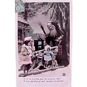 Tinted French Real Photo Postcard, Pere Noel, Little Girl, Sleigh and Doll, Postmarked 1909