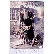 Hand Tinted French Real Photo Postcard, Pere Noel, Little Boy, Dolls and Toys, Joyeux Noel, Postmarked 1909