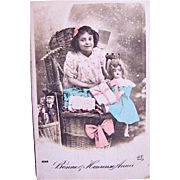 Bonne & Heureuse Année, Hand Tinted French Real Photo Postcard, Little Girl, Doll, Wrapped Gifts, Circa 1910s