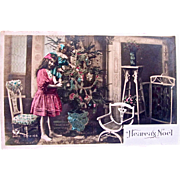 Tinted French Real Photo Postcard, Heureux Noel, Little Girl, Big Doll, Christmas Tree, Postmarked 1910