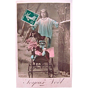 Joyeux Noël, Tinted French Real Photo Postcard, Little Angel, Doll, Pedal Car, Toy Horse, Wrapped Gifts, Circa 1900s
