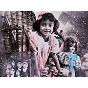 Happy New Year, Tinted French Real Photo Postcard, Little Girl, Oversized Basket, Dolls and Toys, Circa 1910s