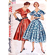 Misses' Party Dress Simplicity Printed Pattern 3814 Uncut and Factory Folded Vintage 1950s Size 16 Bust 34 inches Fifties Afternoon Dress