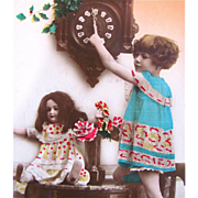Happy New Year Vintage Real Photo Postcard Tinted, Little Girl, Bisque Doll, Cuckoo Clock, Made In France
