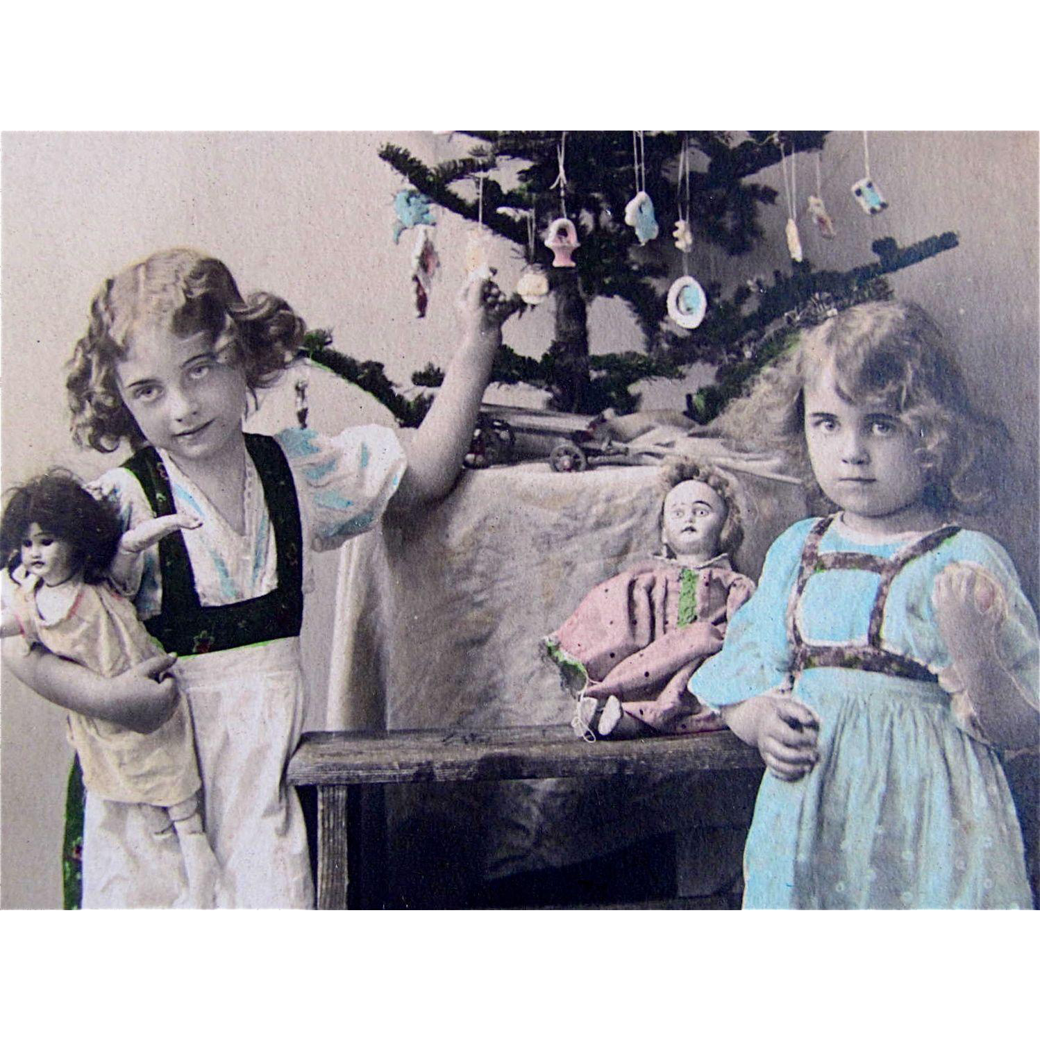 c1911 Tinted RPPC, Girls, Dolls, Toys, Decorated Christmas Tree, Real Photo Postcard, Fawcette #1150