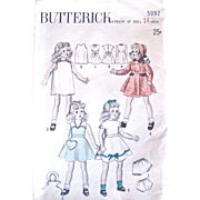 Toni Doll Clothes Pattern, Butterick 5092, Vintage 1940s, Size 14 Inch, Complete