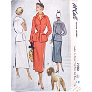 Vintage 1950 McCall 7980, Ladies Suit Sewing Pattern, Uncut, Size 18 Bust 36
