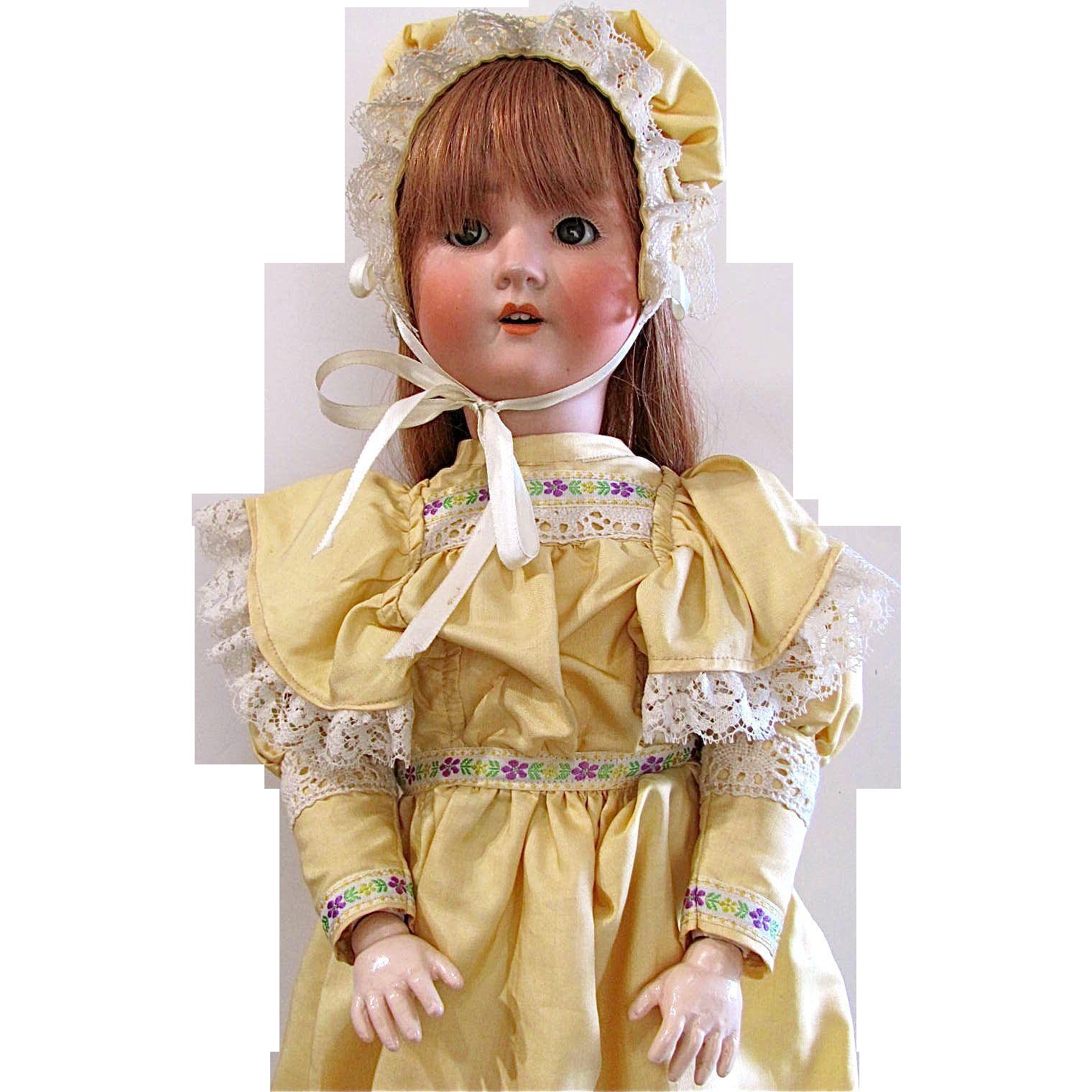 """24"""" Schoenau Hoffmeister Antique German Bisque Socket Head Doll Circa 1909 Redressed"""