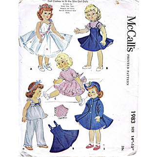 Toni, Sweet Sue Doll Sewing Pattern, Factory Folded, Vintage 1955, McCalls 1983, Size 21-22 Inches