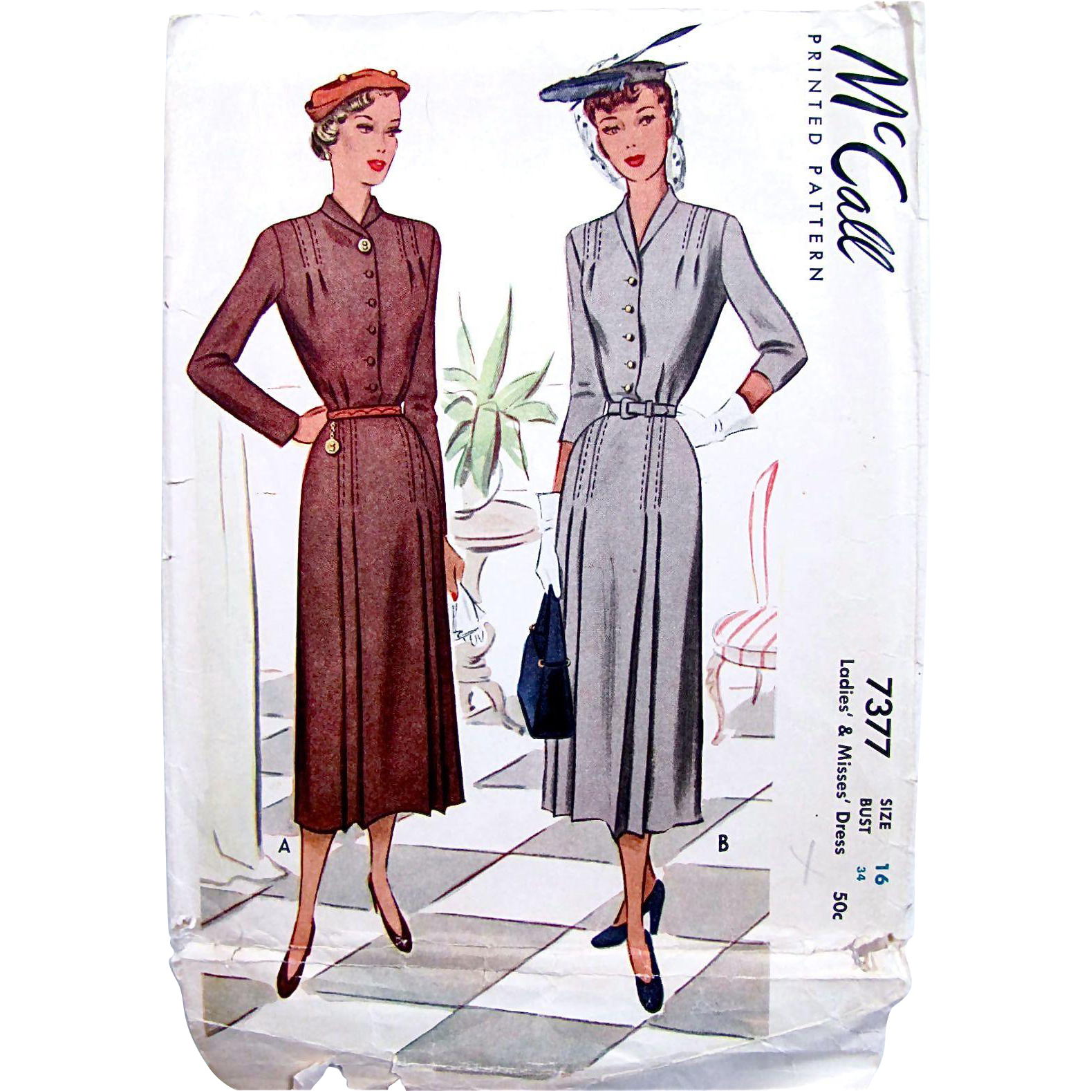 Ladies Tailored Dress Pattern, Vintage 1948, McCall 7377, Size 16 Bust 34, Complete