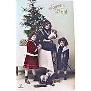 Tinted RPPC, Girls, Boy, Doll, Violin, Toys, Decorated Christmas Tree, Real Photo Postcard, Joyeux Noel, Postmarked 1912