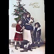 Tinted RPPC, Girls, Boy, Doll, Violin, Toys, Decorated Christmas Tree, Real Photo Postcard, Joyeux Noel, Postmarked 1912