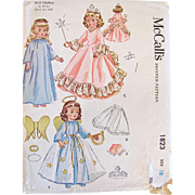 Angel and Fairy Princess Doll Costume Pattern, McCalls 1823, Vintage 1953, Complete, Size 18 Inch, Sweet Sue