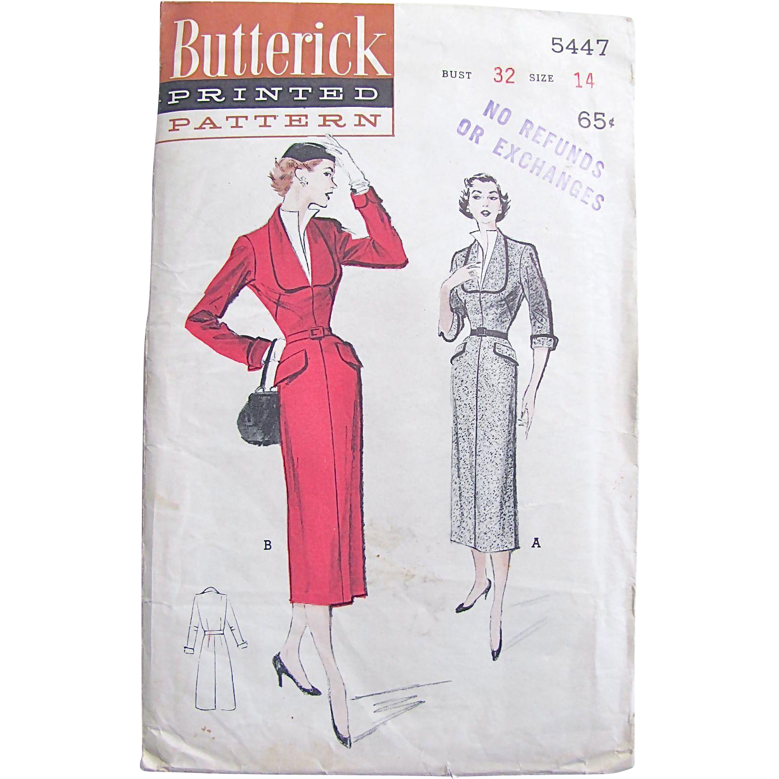 Butterick 5447, Tailored Dress with Horseshoe Neckline, Size 14, Bust 32, Vintage 1950s Fashion, Uncut and Factory Folded