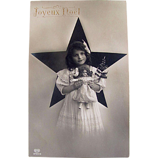 RPPC, Angelic Little Girl, Doll, Christmas Tree, Real Photo Postcard, EAS