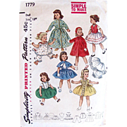 Sweet Sue, Binnie Doll Clothes Pattern, Simplicity 1779, Vintage 1950s, Uncut and Factory Folded, Size 18 Inch
