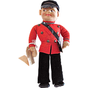 European Cloth Doll Danish Postman With Sweet Gift Message Vintage 1940s