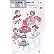 Fairy Princess Doll Clothes Pattern, Butterick 8352 Uncut Vintage 1950s Size 11 Inch, Fits Littlest Angel, Fluffy