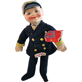 Chad Valley Felt Doll British Ships Captain Kimport Made In England Vintage 1930s