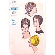 Vogue Pattern 6121, Uncut, Ladies' Hats, Easy To Make, One Size, Vintage 1960s, Bandeau, Cap, Cloche, Factory Folded
