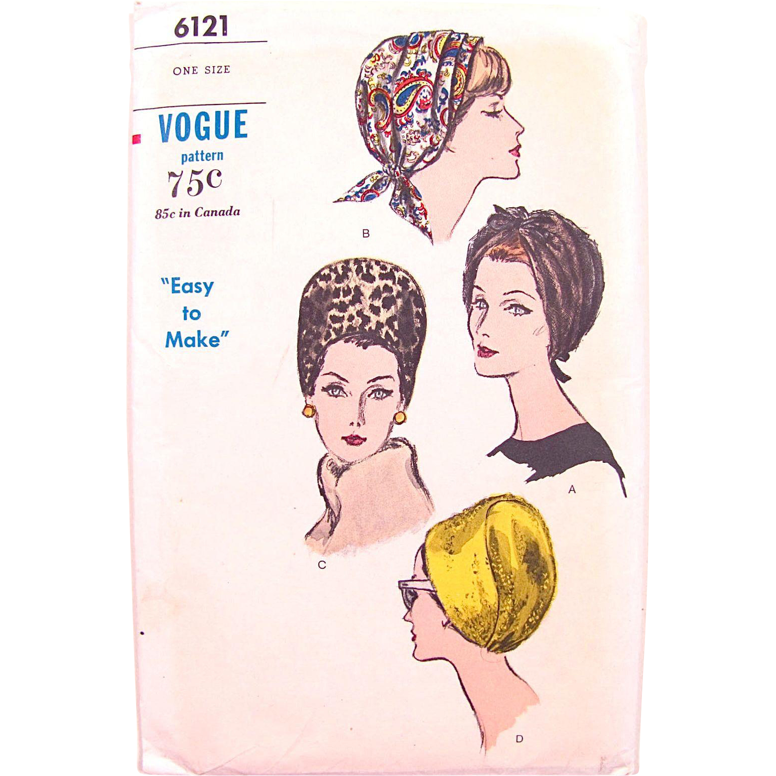 Vogue Pattern 6121, Uncut, Ladies' Hats, Easy To Make, One Size, Vintage 1960s, Bandeau, Cap, Cloche, Factory Folded