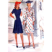McCall 4317, Misses Dress Pattern, Vintage 1941, Complete and Factory Folded, Size 46, Panel Skirt, U-Shaped Bodice, Bust 46 Inches