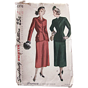 Forties Tailored Suit Pattern, Uncut and Factory Folded, Vintage 1940s, Simplicity 2376, Misses Size Bust 34 inches,