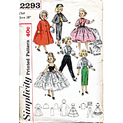 Miss Revlon and Cissy Doll Wardrobe Pattern, Simplicity 2293, Size 23 Inches, Vintage 1957, Complete