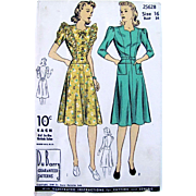 Misses Sweetheart Dress Pattern, Du Barry 2562B, Size 16, Bust 34, Unused and Factory Folded, Dated 1940